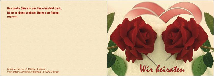 Druck Von A6 Hochzeitskarten Mit Rosen Und Herz