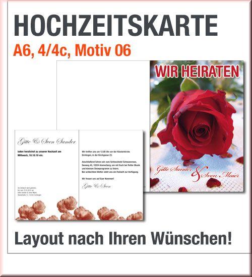 Hochzeitskarten Druck Mit Roter Rose Im A6 Format