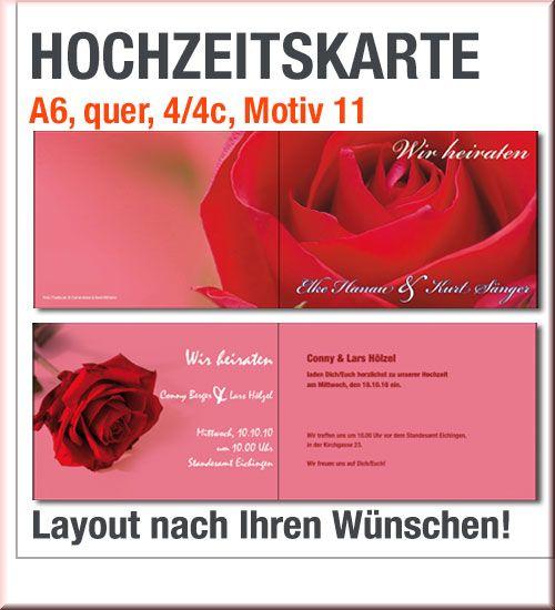 Druck Von A6 Hochzeitskarten Mit Roten Rosen