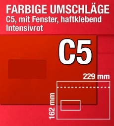 C5-Kuverts mit Fenster in Rot, Intensivrot