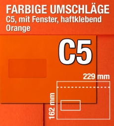 C5-Kuverts mit Fenster, Orange, 229 x 162 mm