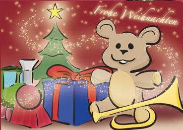 Weihnachtskarten Comic.Rote A6 Weihnachtskarten Mit Teddy Im Comic Stil