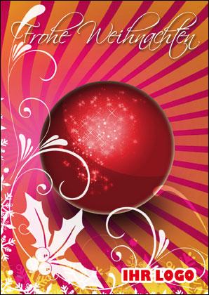 rot orange weihnachtskarten mit glaskugeln. Black Bedroom Furniture Sets. Home Design Ideas